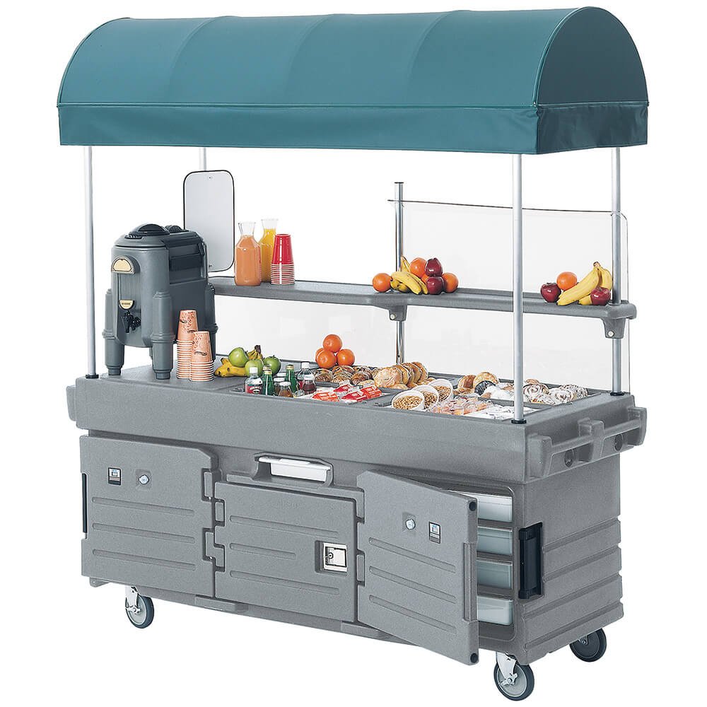 Granite Gray, Mobile Food Kiosk with Canopy, 4 Food Pan Wells