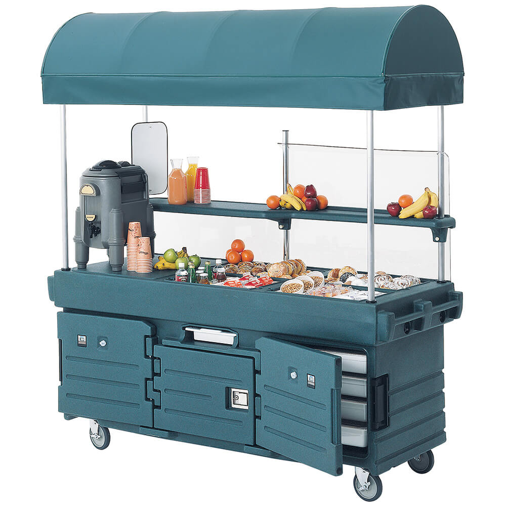 Granite Green, Mobile Food Kiosk with Canopy, 4 Food Pan Wells
