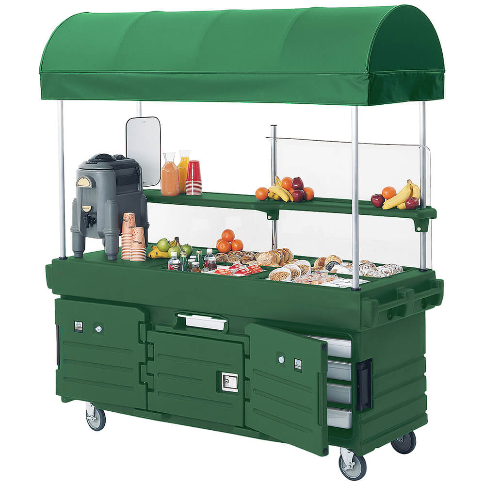 Green, Mobile Food Kiosk with Canopy, 4 Food Pan Wells