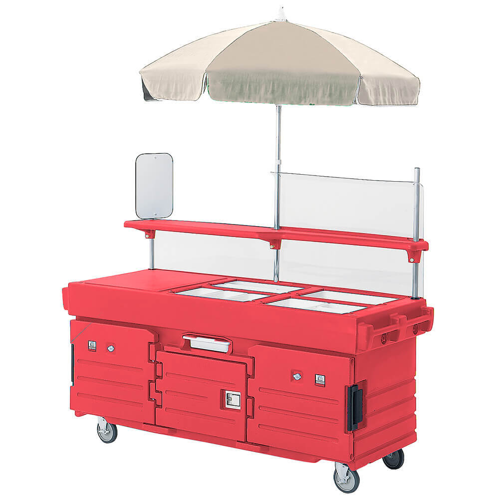 Hot Red, Mobile Food Kiosk with Umbrella, 4 Food Pan Wells