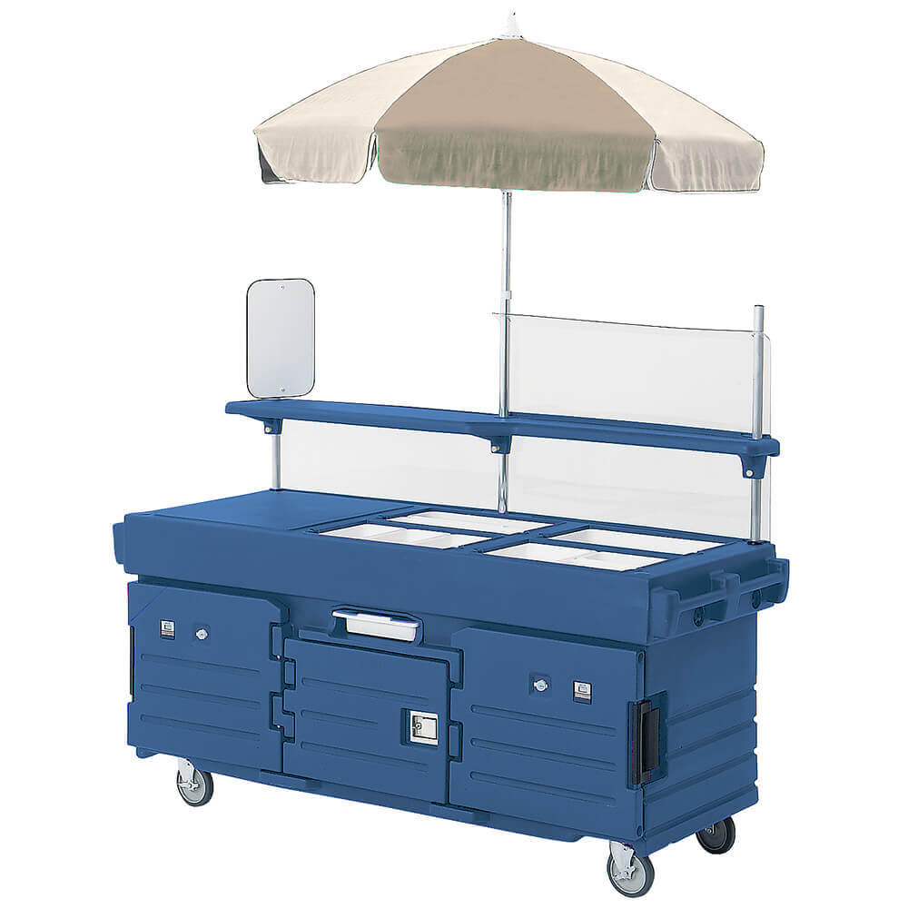 Navy Blue, Mobile Food Kiosk with Umbrella, 4 Food Pan Wells