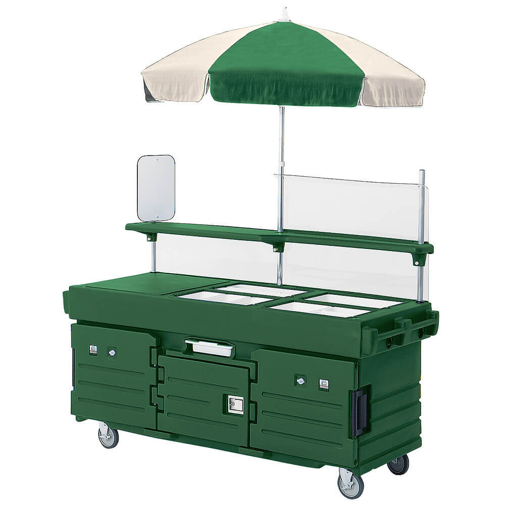 Cambro green mobile food kiosk with umbrella 4 food pan for Mobili kios