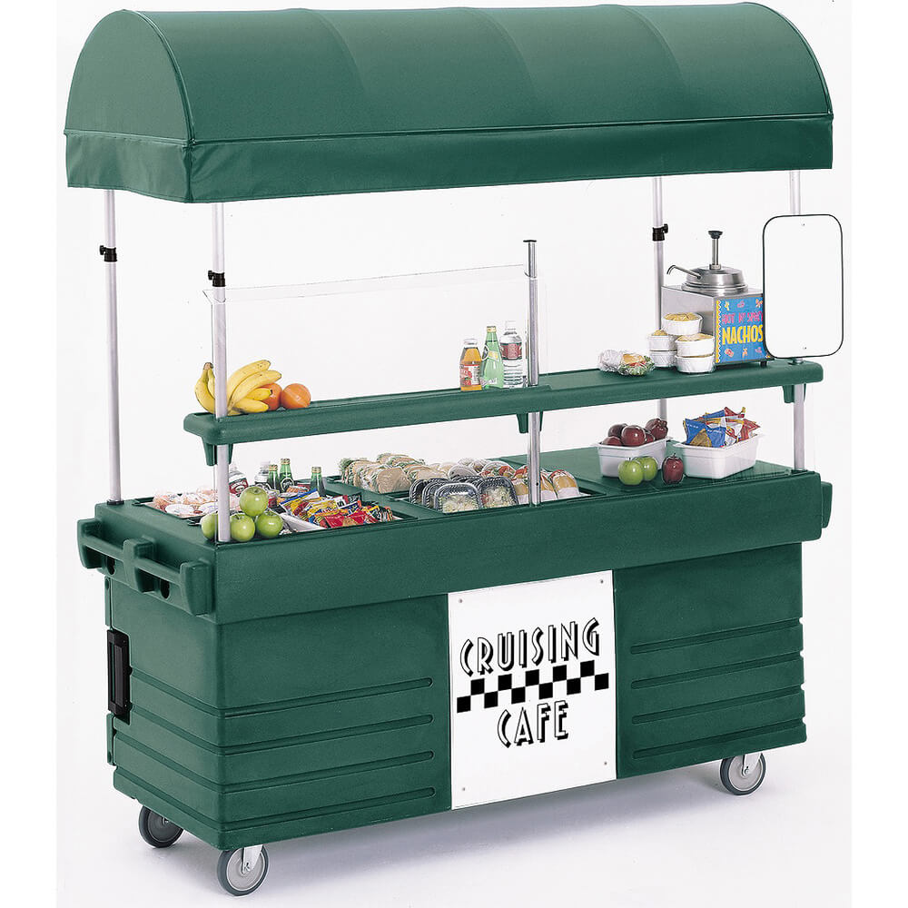 Green, Mobile Food Kiosk with Canopy, 4 Food Pan Wells View 2