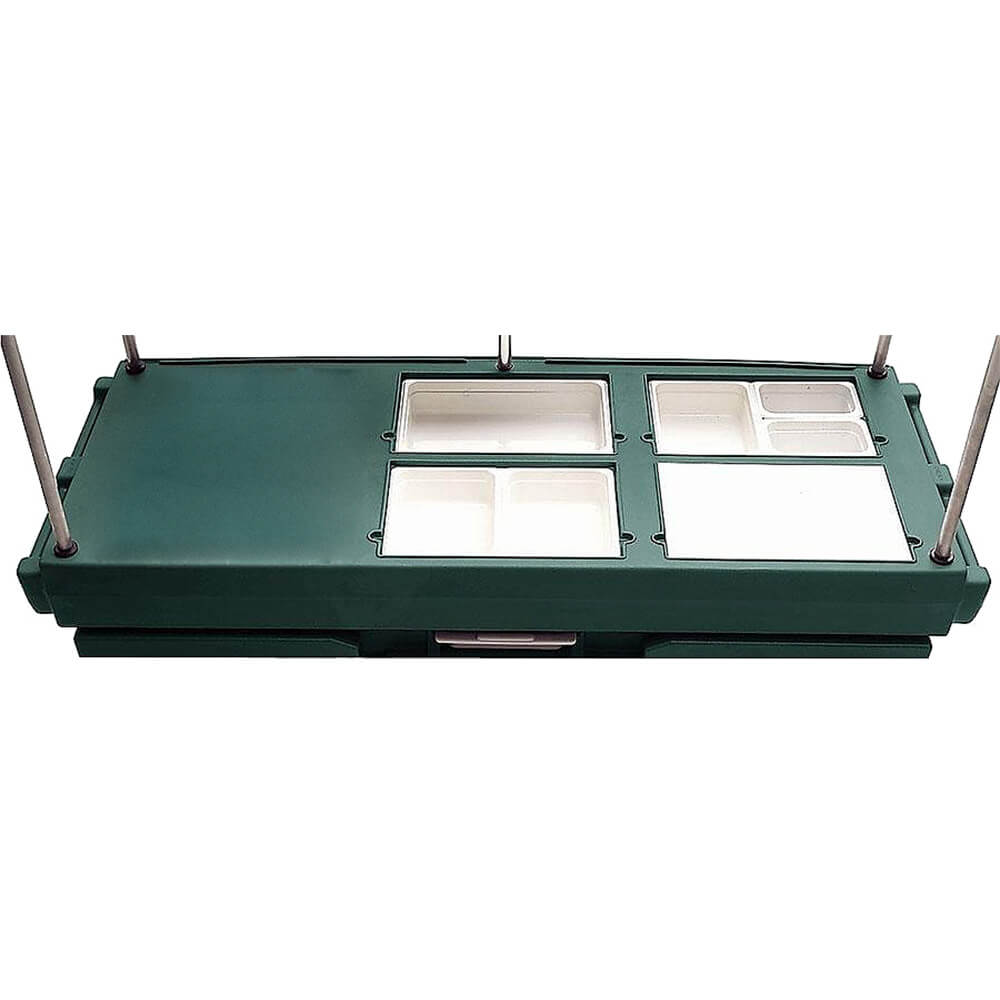 Green, Mobile Food Kiosk with Canopy, 4 Food Pan Wells View 3