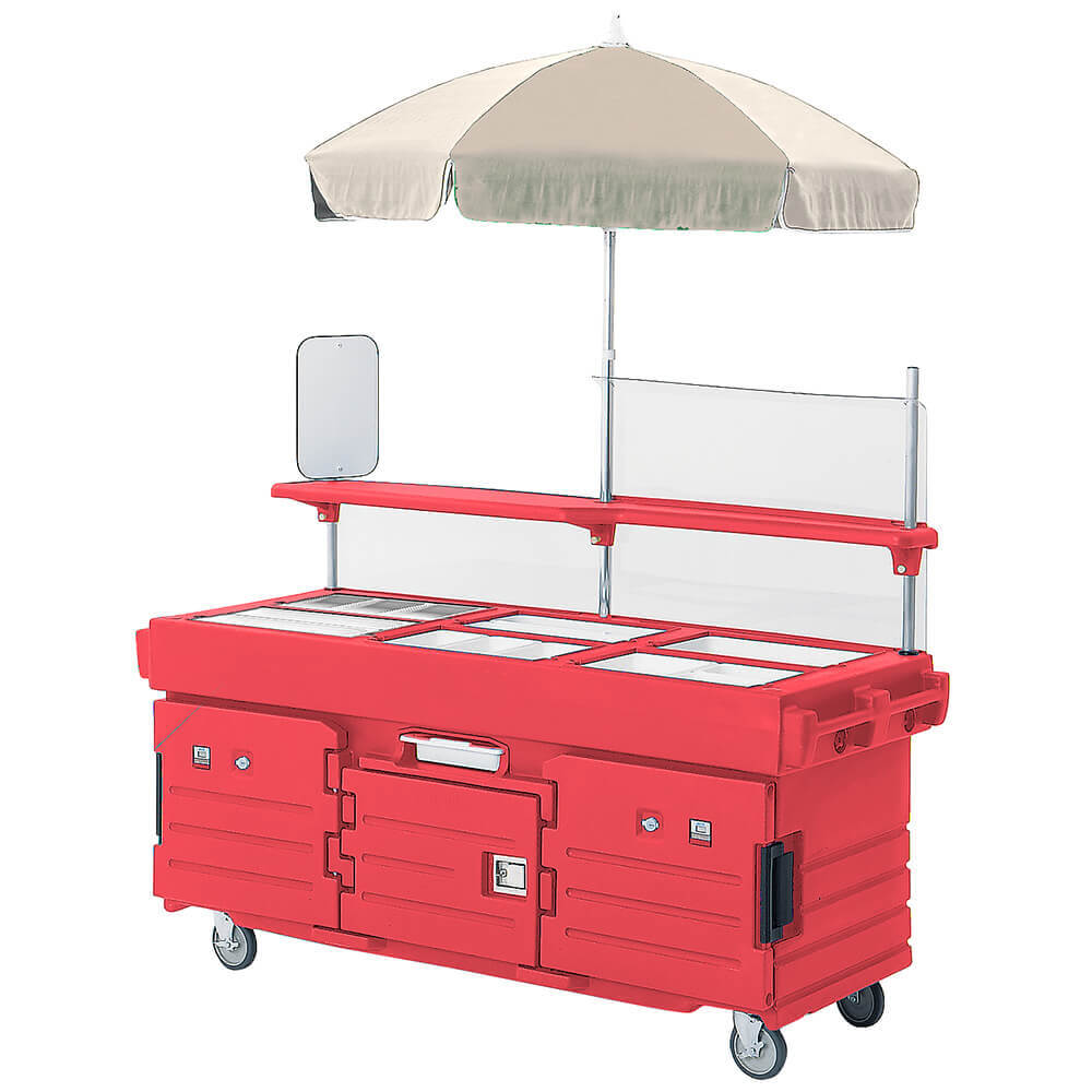 Hot Red, Mobile Food Kiosk with Umbrella, 6 Food Pan Wells