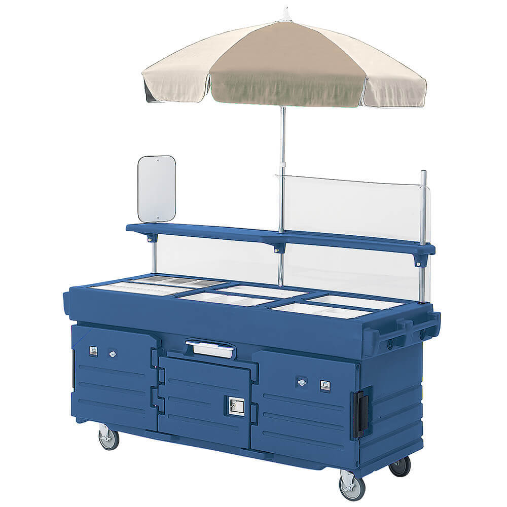 Navy Blue, Mobile Food Kiosk with Umbrella, 6 Food Pan Wells