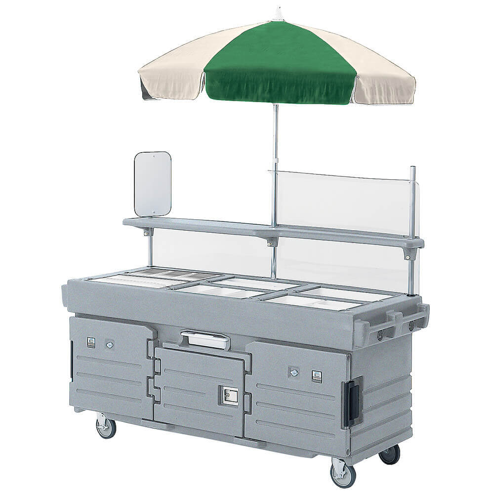 Granite Gray, Mobile Food Kiosk with Umbrella, 6 Food Pan Wells