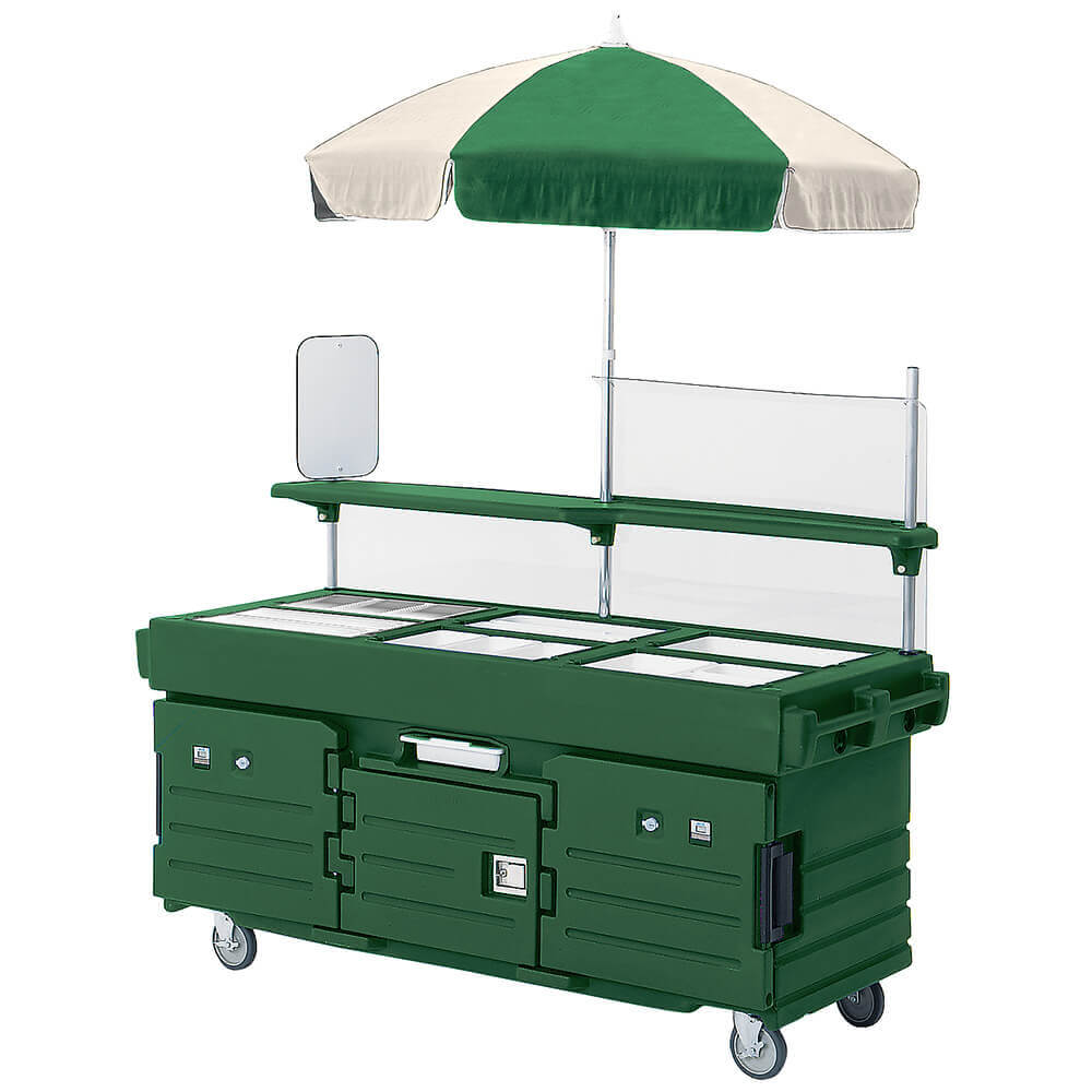 Green, Mobile Food Kiosk with Umbrella, 6 Food Pan Wells