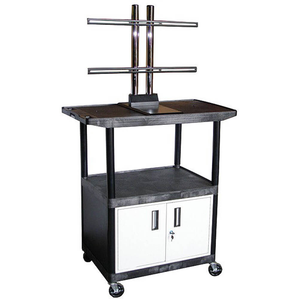 "48"" Tall Mobile Plasma/LCD Cart W/ Storage"