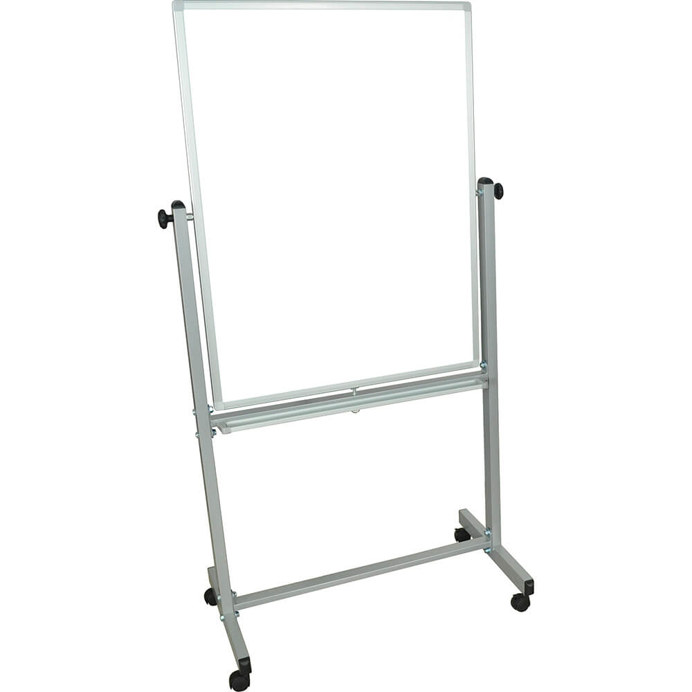 "Silver Frame, Double Sided Magnetic White Board 30"" X 40"" With Stand"