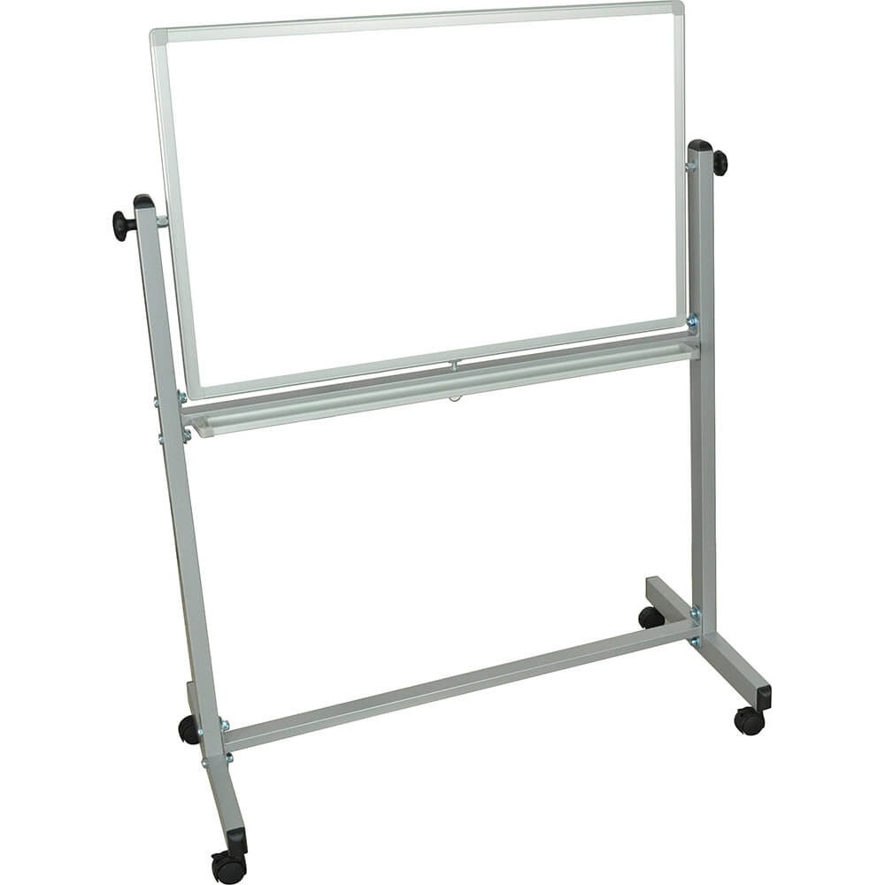 "Silver Frame, Double Sided Magnetic White Board 36"" X 24"" With Stand"