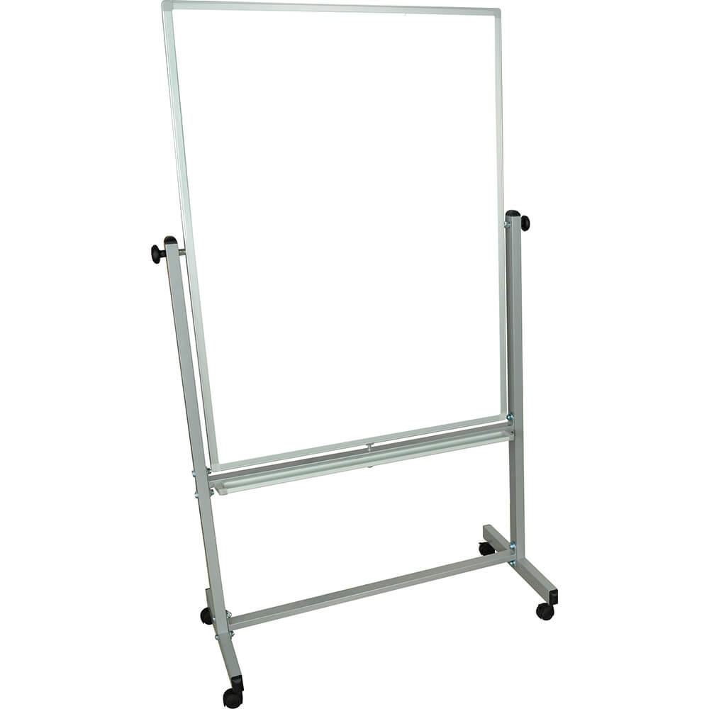 "Silver Frame, Double Sided Magnetic White Board 36"" X 48"" With Stand"