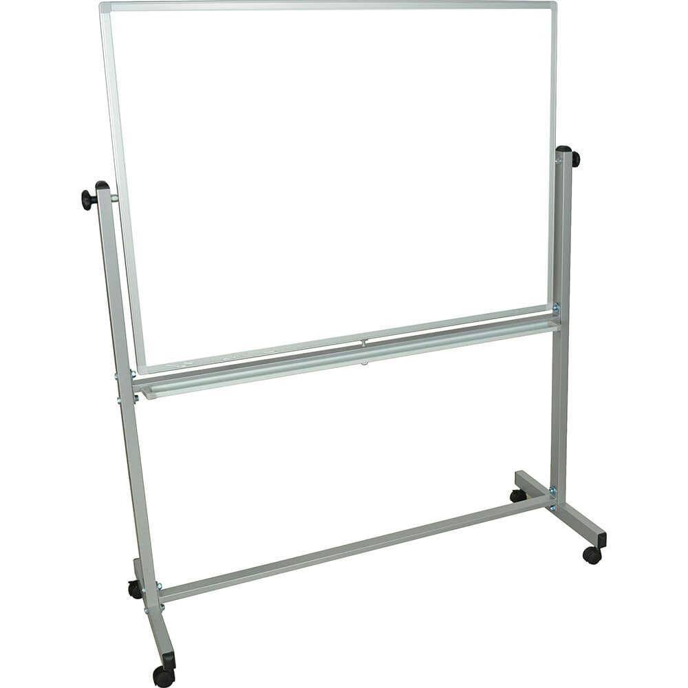 "Silver Frame, Double Sided Magnetic White Board 48"" X 36"" With Stand"