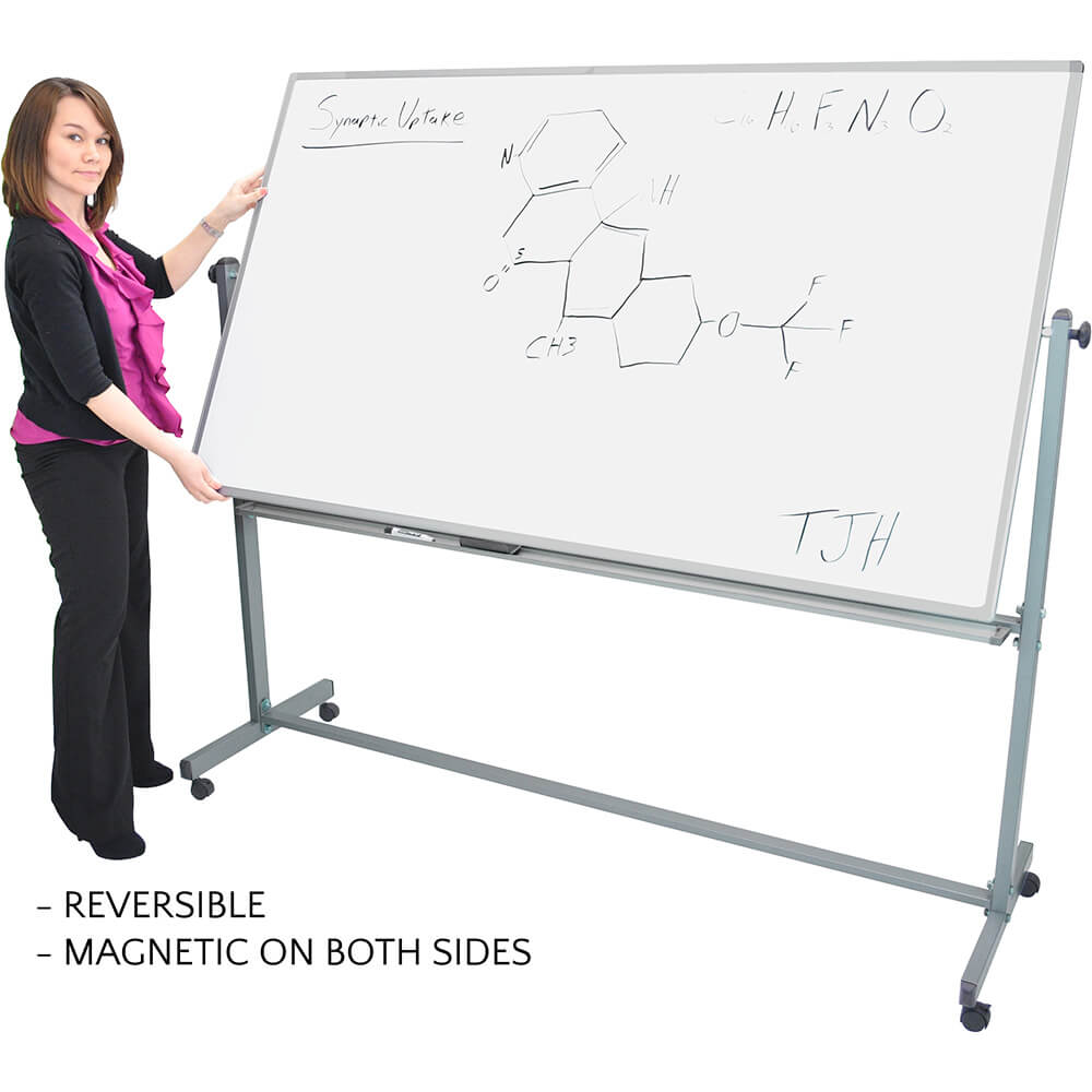 "Silver Frame, Double Sided Magnetic White Board 72"" X 40"" With Stand View 2"