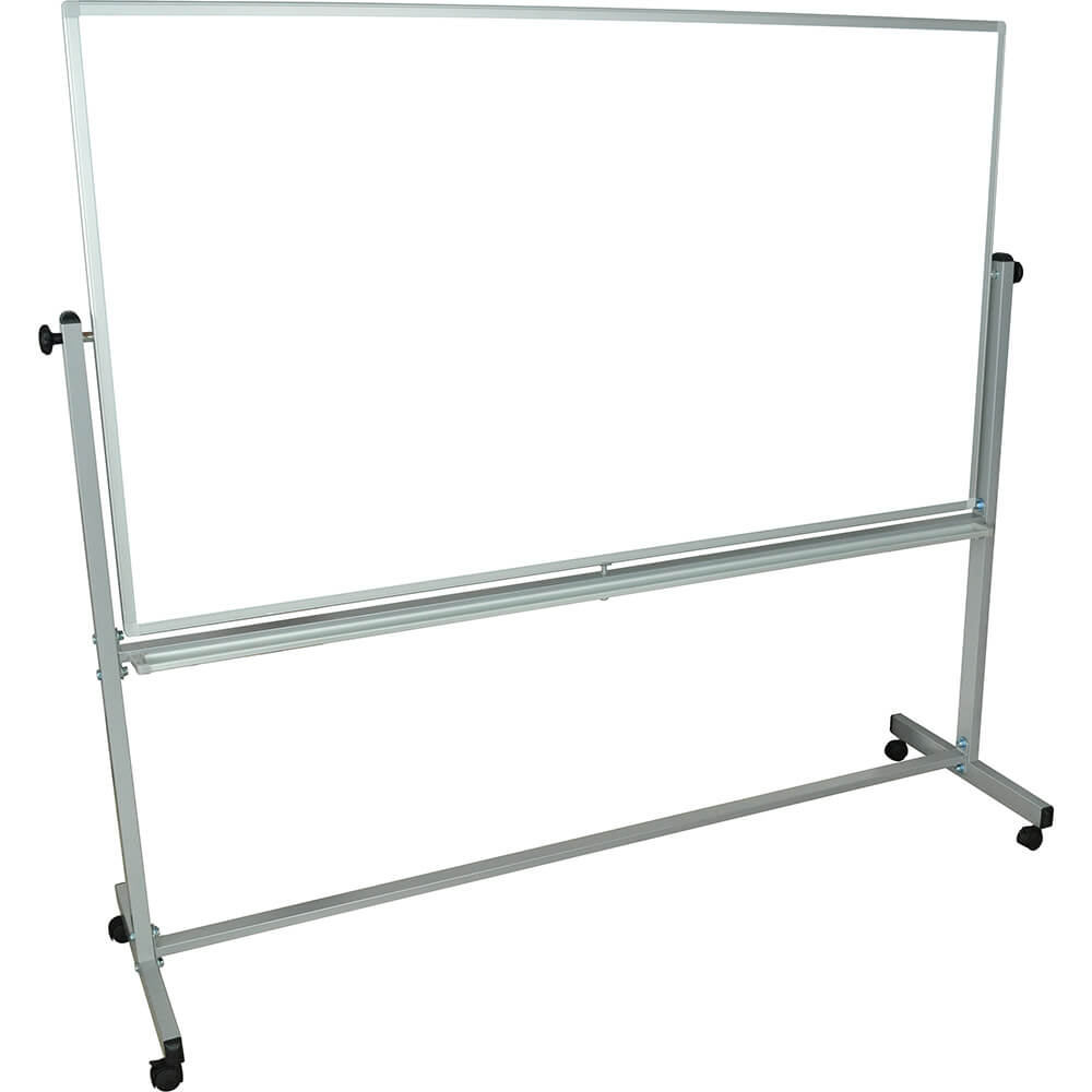 "Silver Frame, Double Sided Magnetic White Board 72"" X 40"" With Stand"