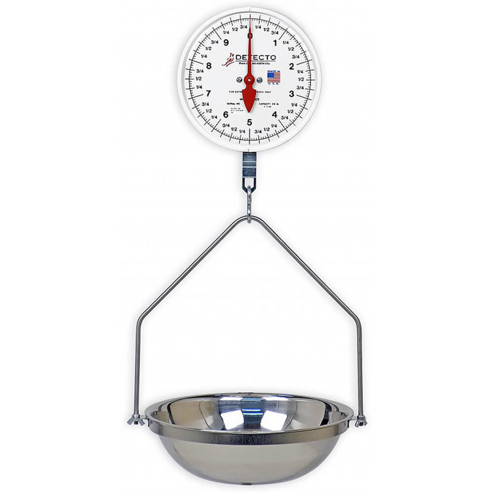 Hanging Dial Scale, Stainless Steel Bowl, 40 Lb.