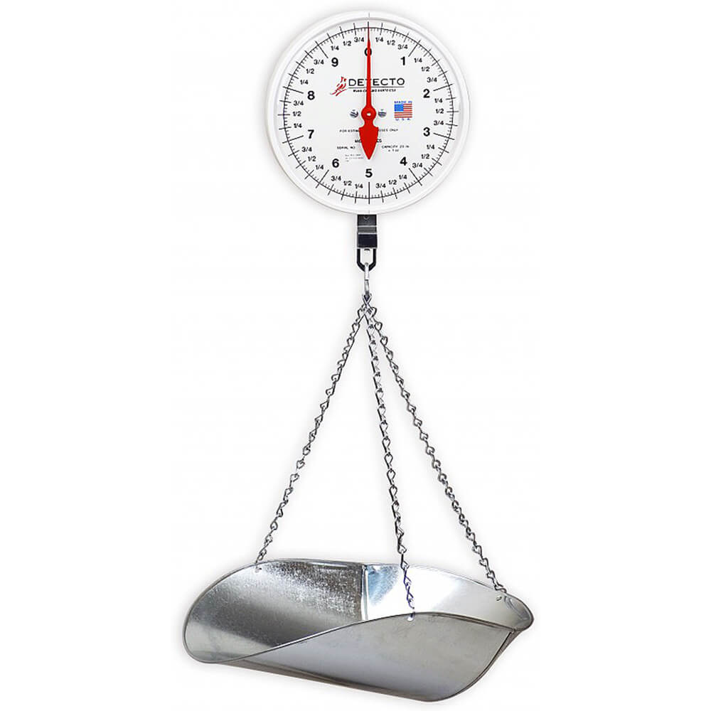 Hanging Dial Scale W/ Galvanized Scoop, 40 Lb., Double Dial