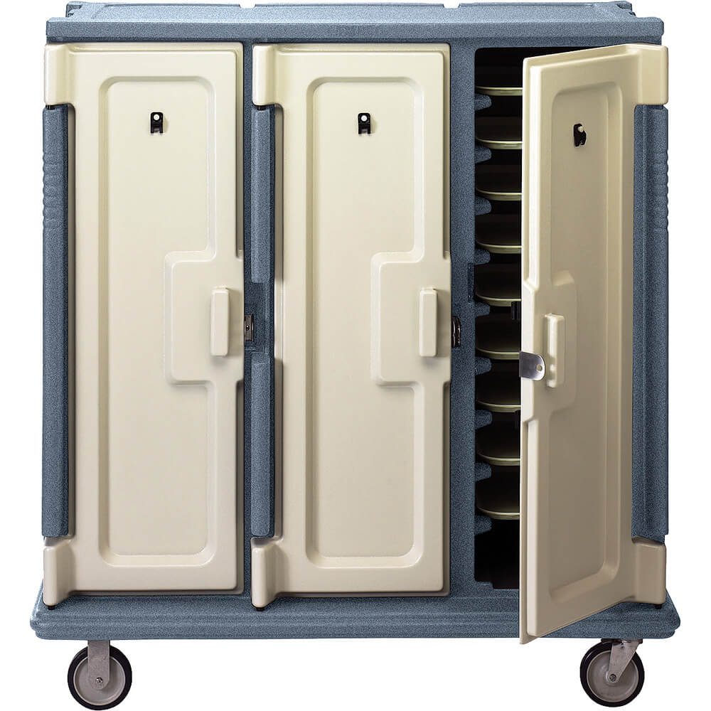 "Granite Gray, Tall Meal Delivery Cart, 14""x18"" Trays, 3 Doors"