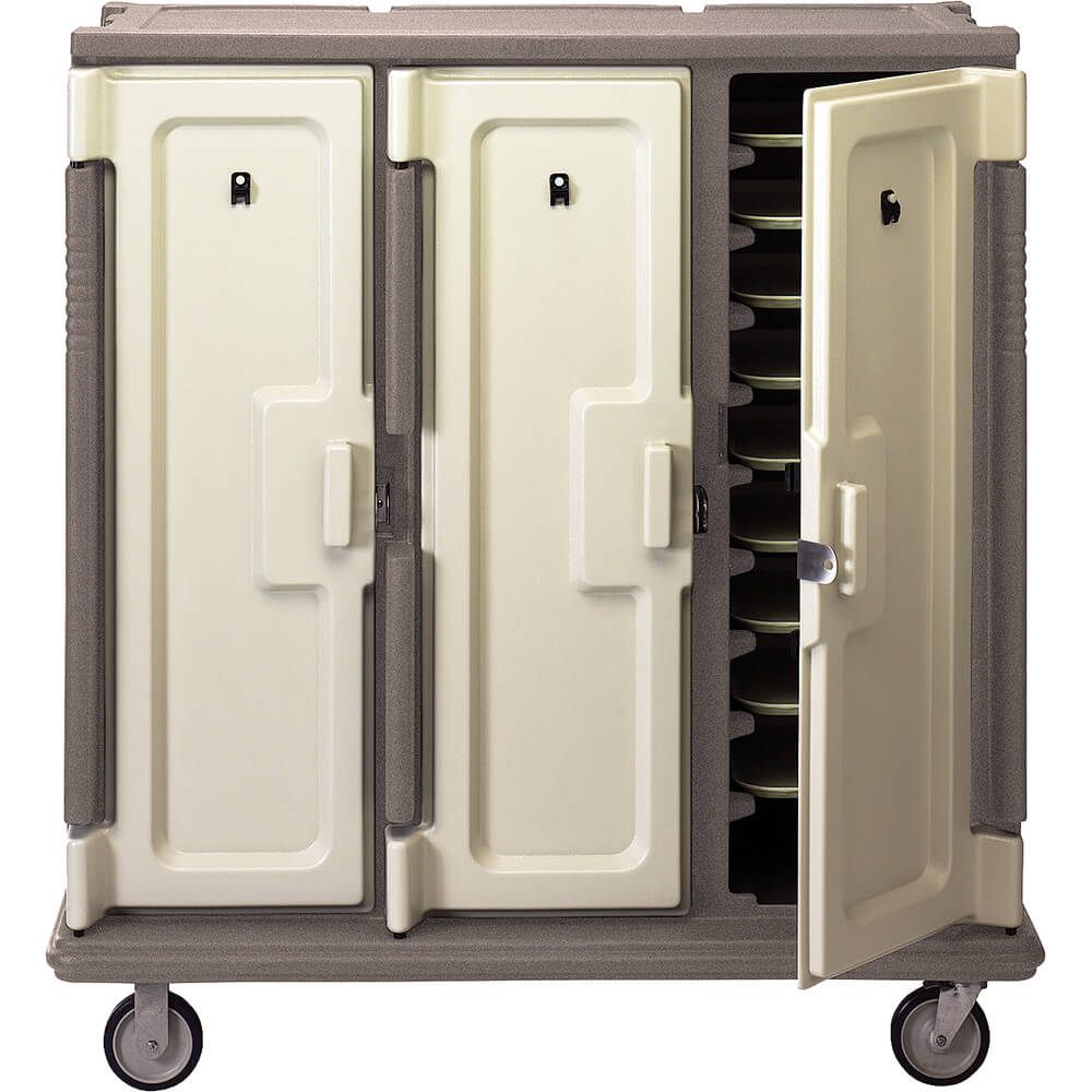 "Granite Sand, Tall Meal Delivery Cart, 14""x18"" Trays, 3 Doors"
