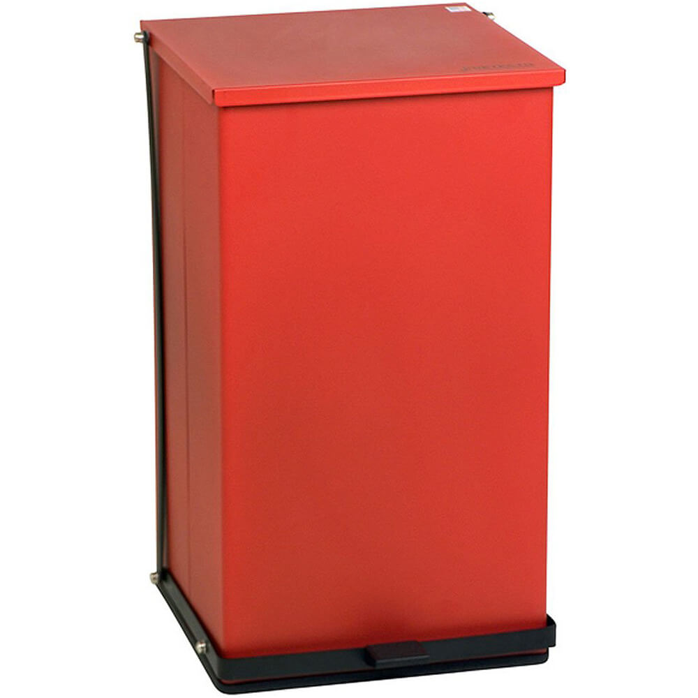 Red, Baked Epoxy Commercial Step On Trash Can, 100 Qt