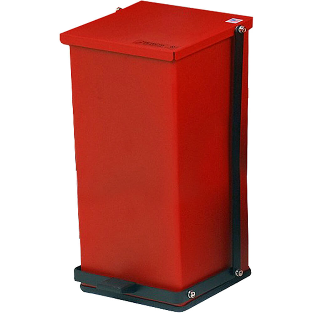 Red, Baked Epoxy Commercial Step On Trash Can, 48 Qt