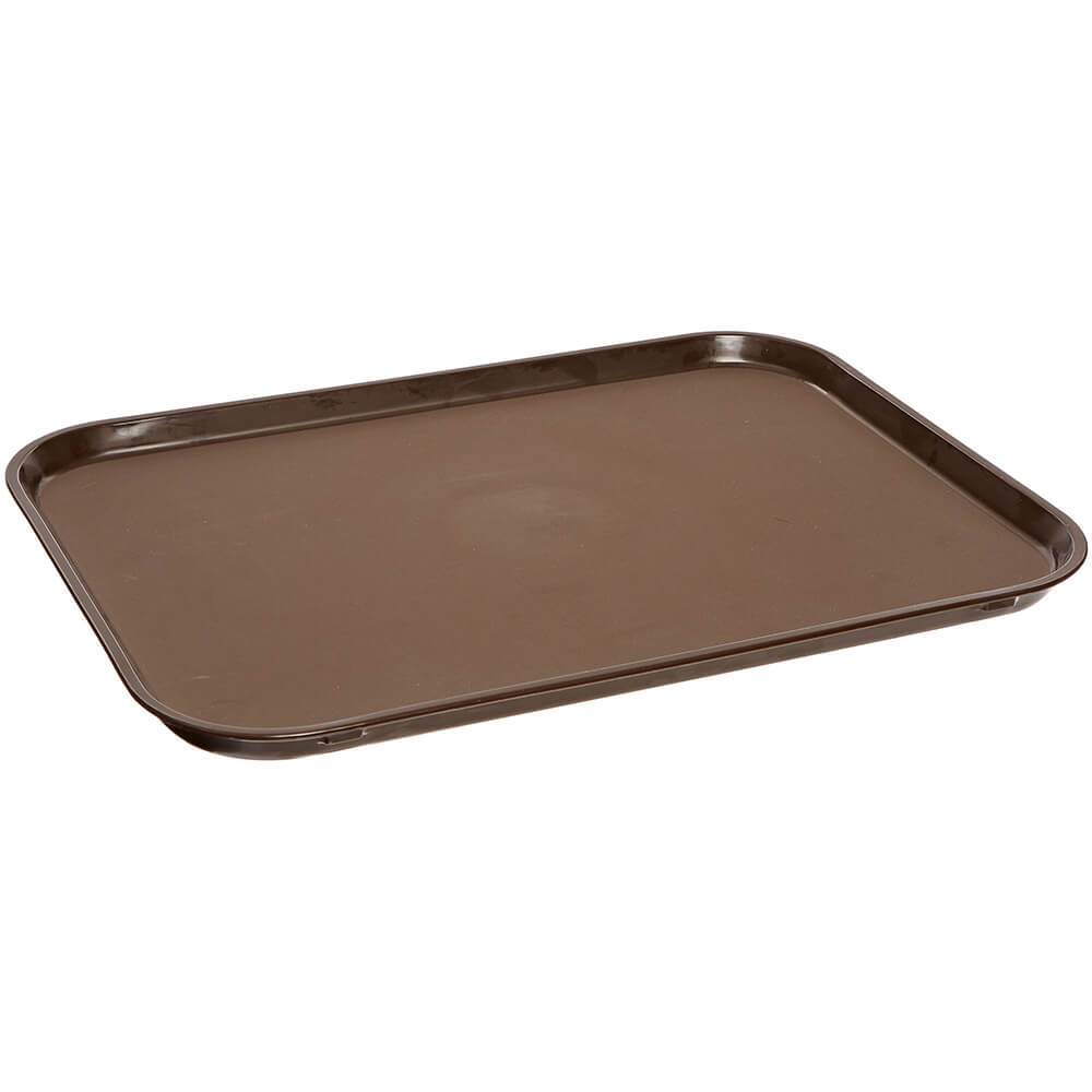 "Tavern Tan, 28-7/8"" x 23-1/2"" Oval Non-Slip Fiberglass Food Trays, 6/PK"