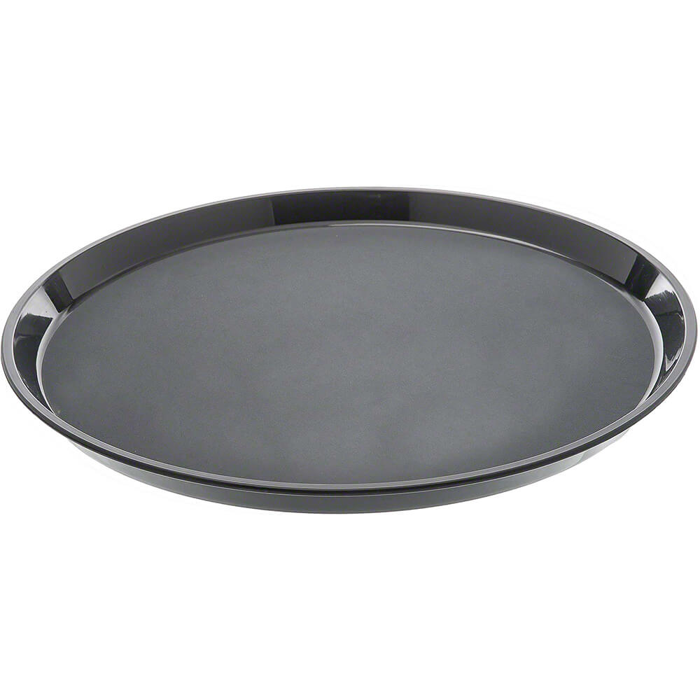 "Black, 9"" Round Non-Slip Fiberglass Food Trays, 12/PK"
