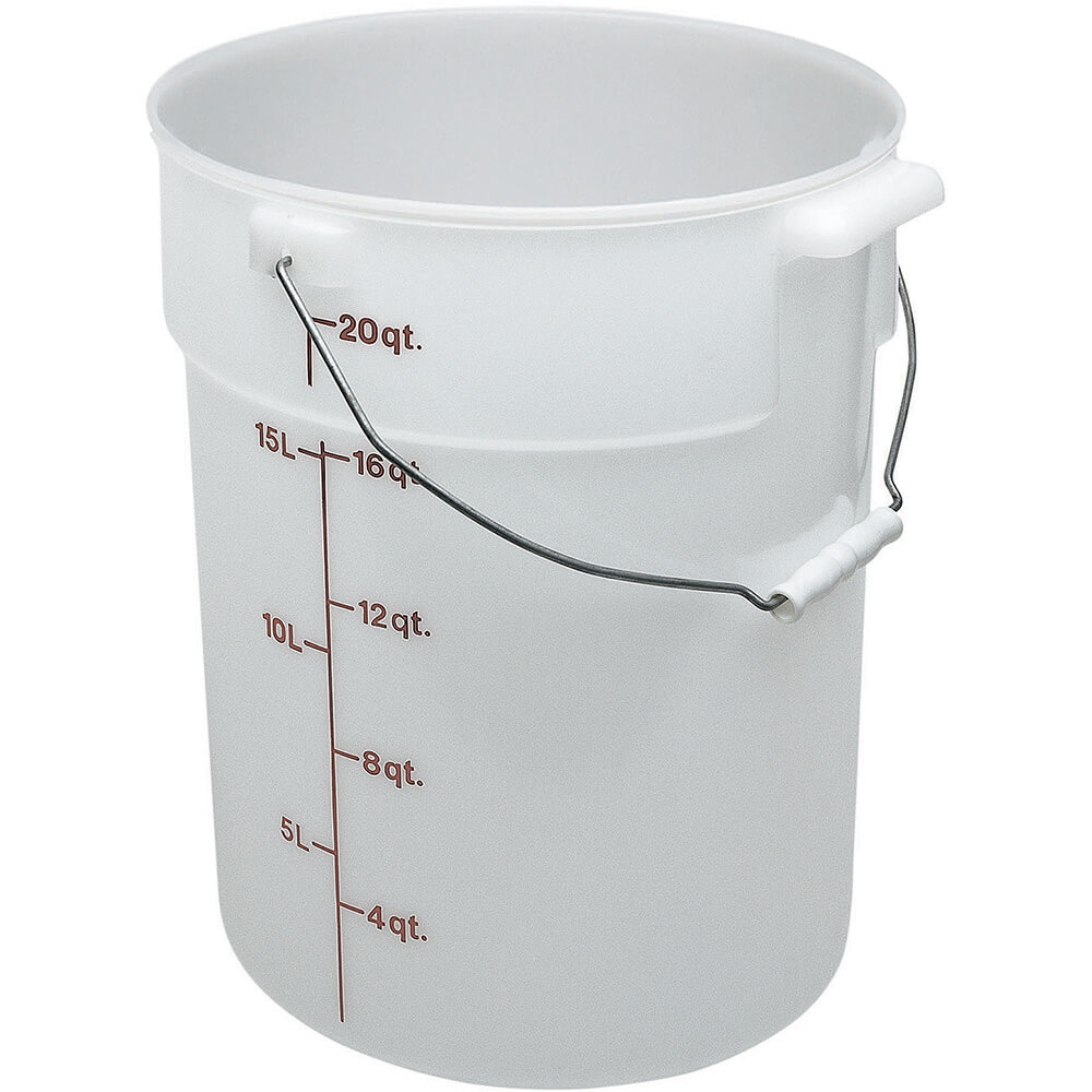 White, 22 qt. Poly Pail with Bail, 6/PK