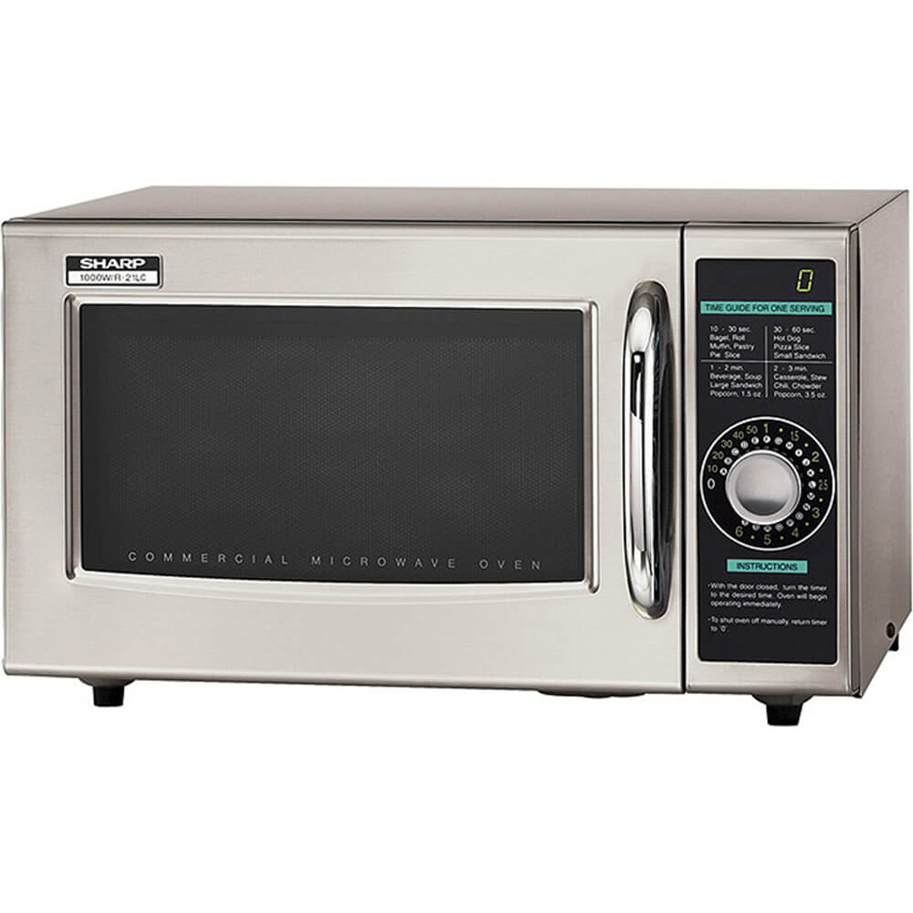 Gray, Medium Duty Commercial Microwave Oven, Dial Timer, 1000 W