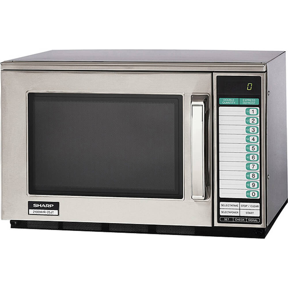 Gray, Heavy Duty Microwave Oven, 20 Memories Programmable, 2100 W