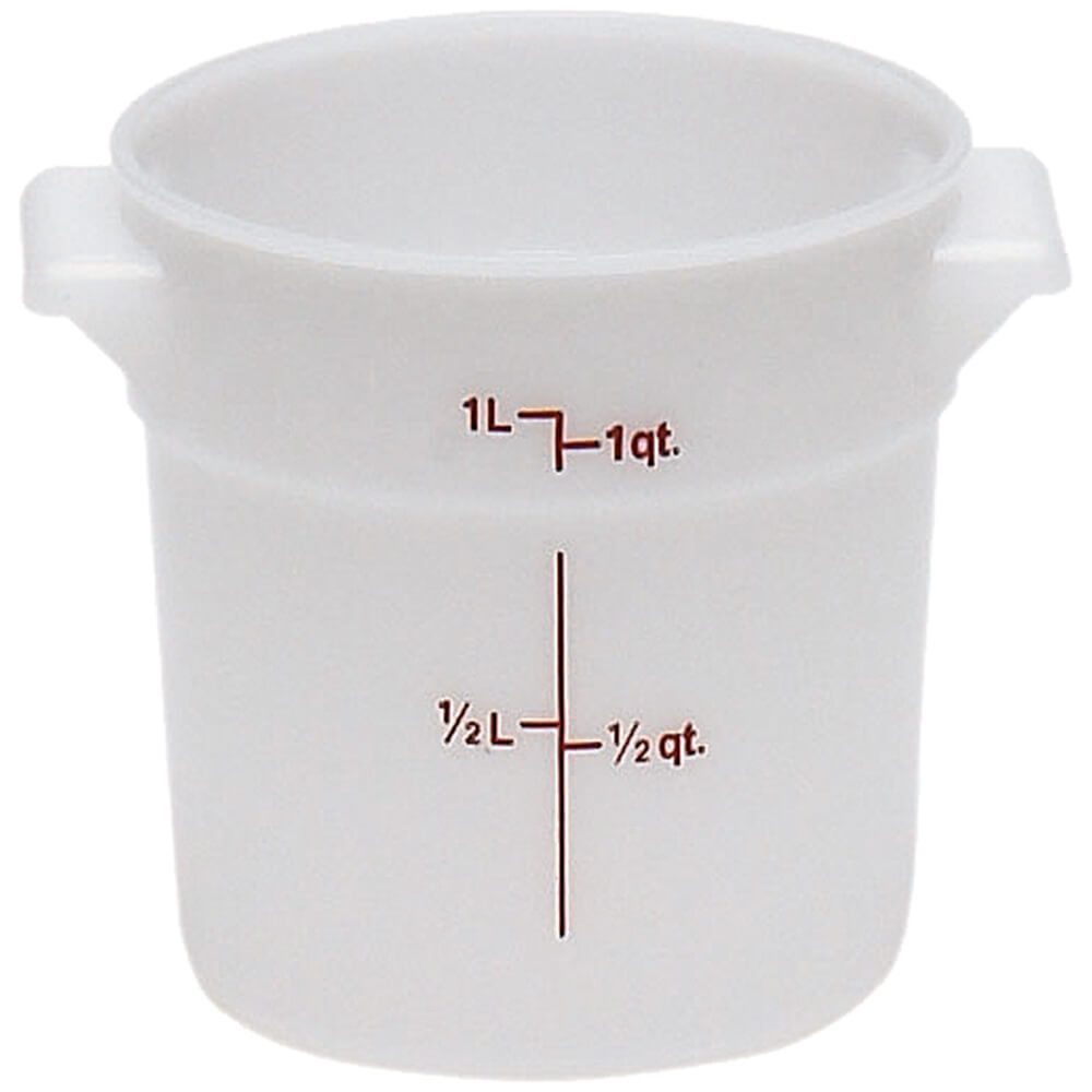White, 1 qt. Poly Round Food Storage Containers, 12/PK