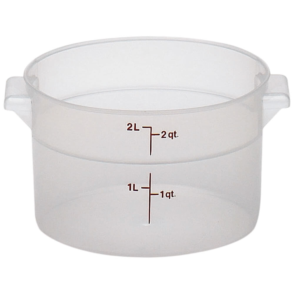 Translucent, 2 qt. Round Food Storage Containers, 12/PK