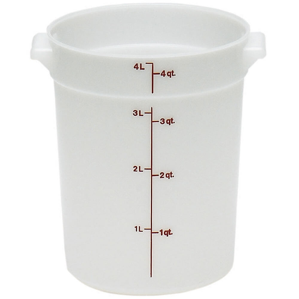 White, 4 qt. Poly Round Food Storage Containers, 12/PK