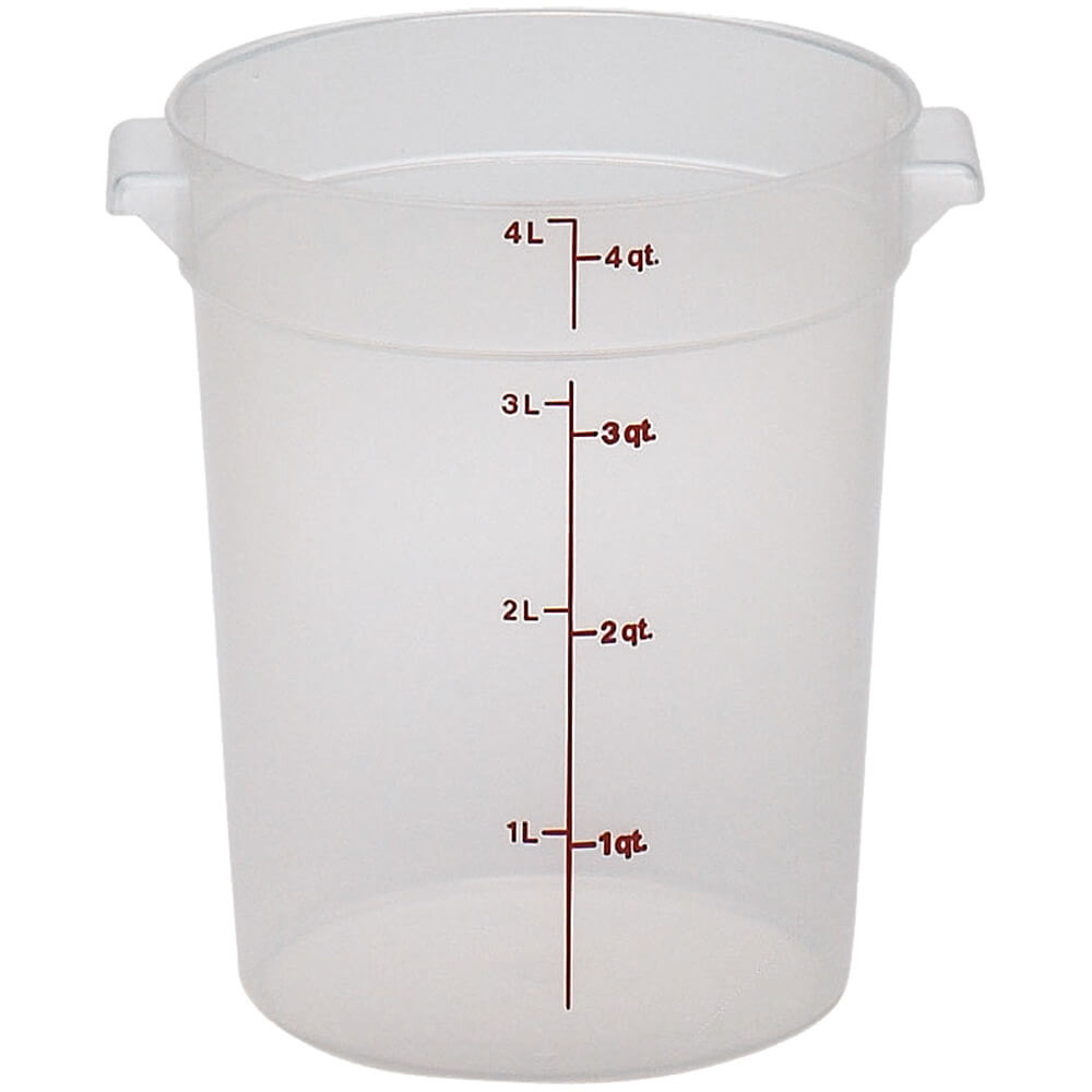 Translucent, 4 qt. Round Food Storage Containers, 12/PK