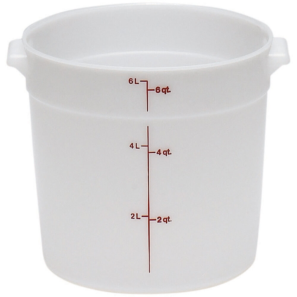White, 6 qt. Poly Round Food Storage Containers, 12/PK
