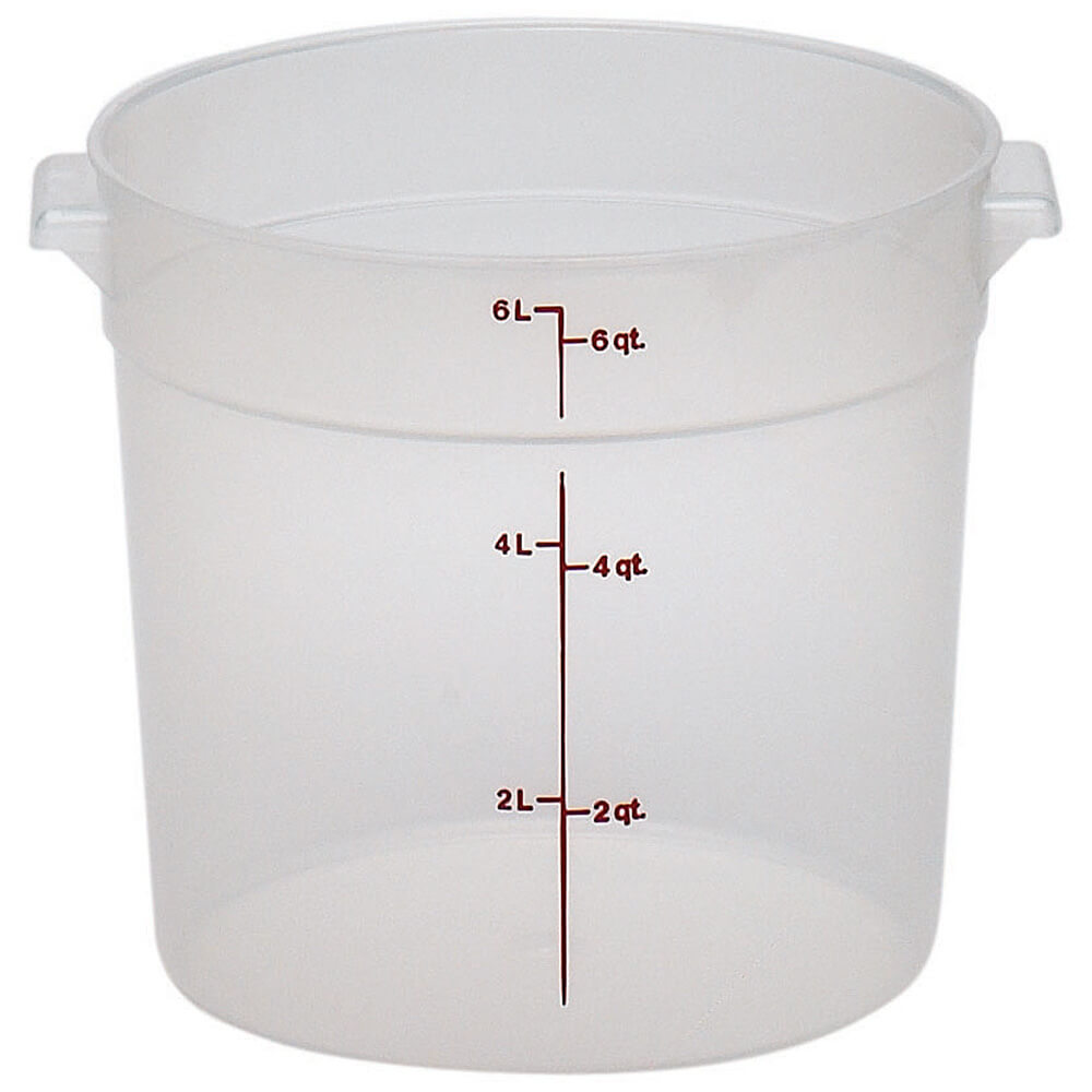 Translucent, 6 qt. Round Food Storage Containers, 12/PK