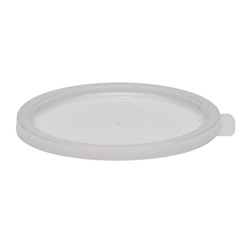 White, Small 1 qt. Lid for Poly Round Containers, 12/PK
