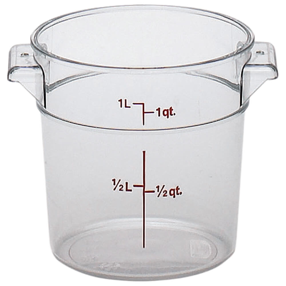 Clear, 1 qt. Camwear Round Food Storage Containers, 12/PK