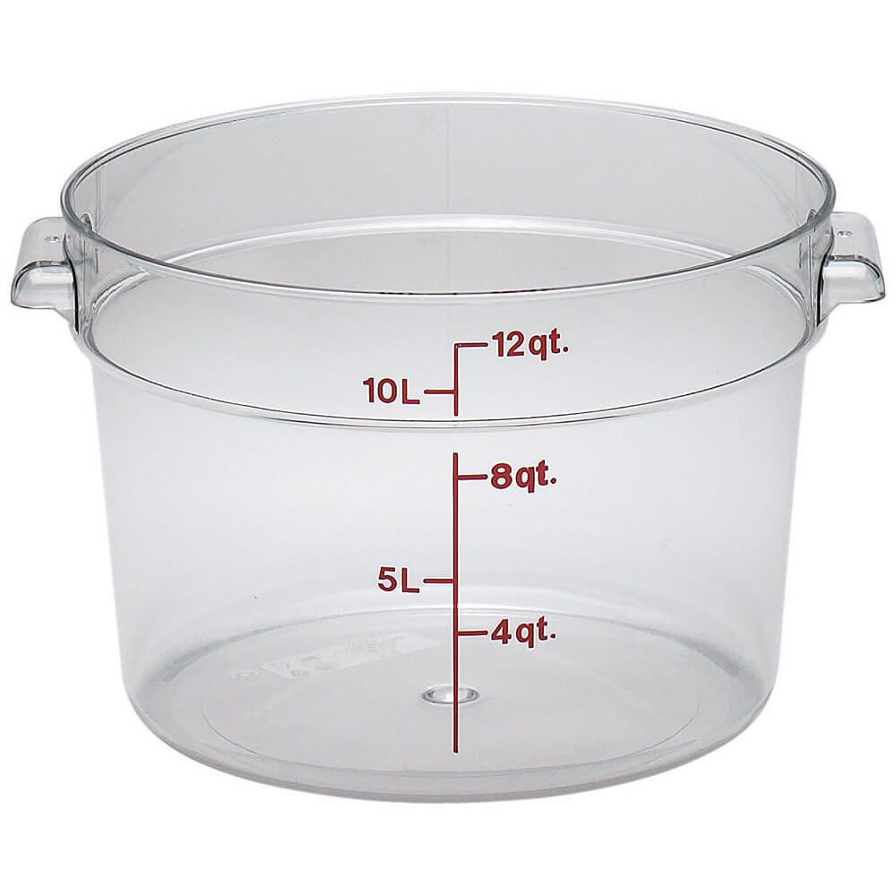 Clear, 12 qt. Camwear Round Food Storage Containers, 6/PK