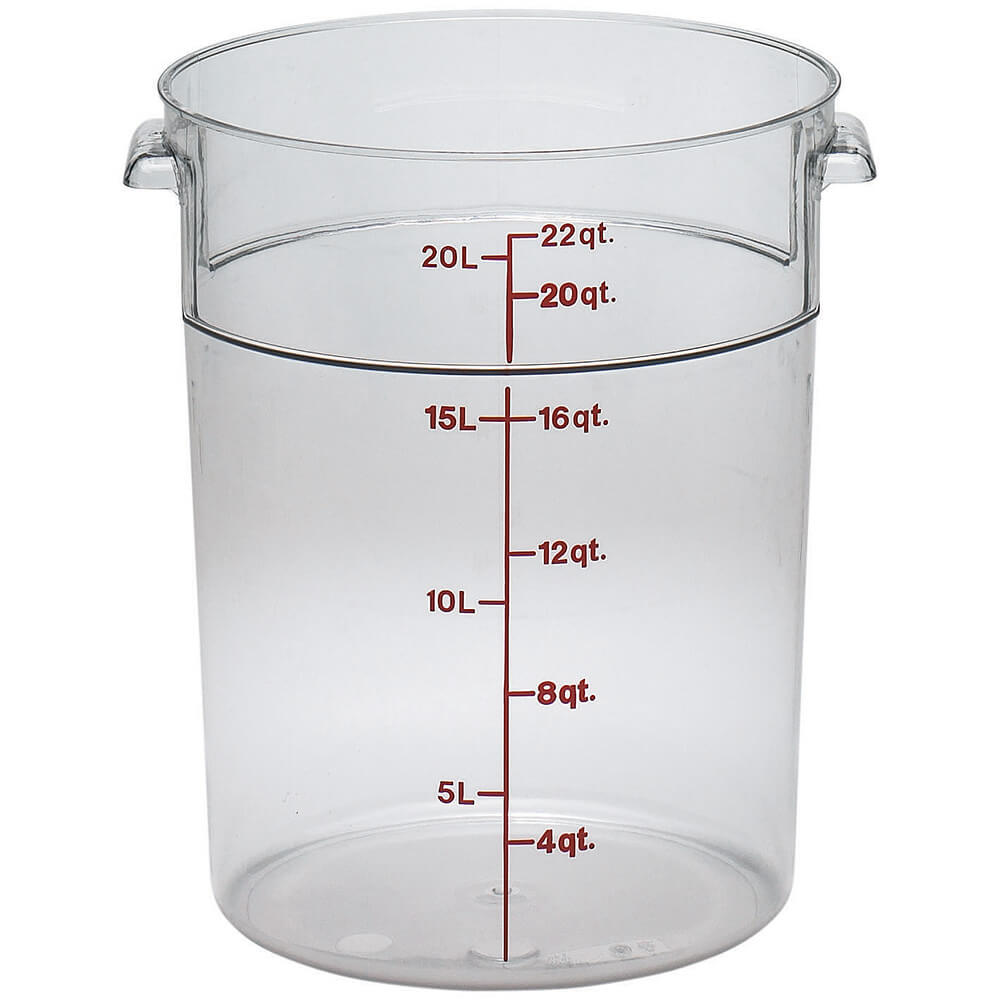 Clear, 22 qt. Camwear Round Food Storage Containers, 6/PK