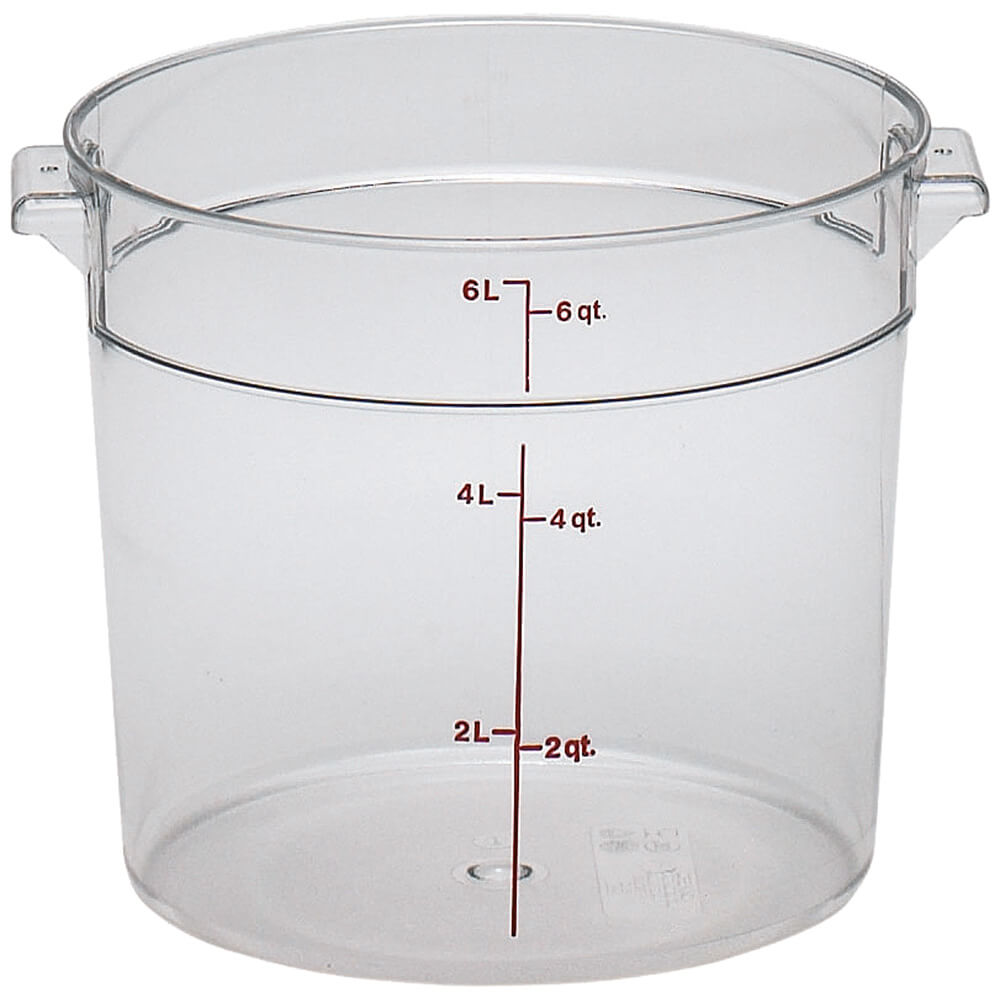 Clear, 6 qt. Camwear Round Food Storage Containers, 12/PK