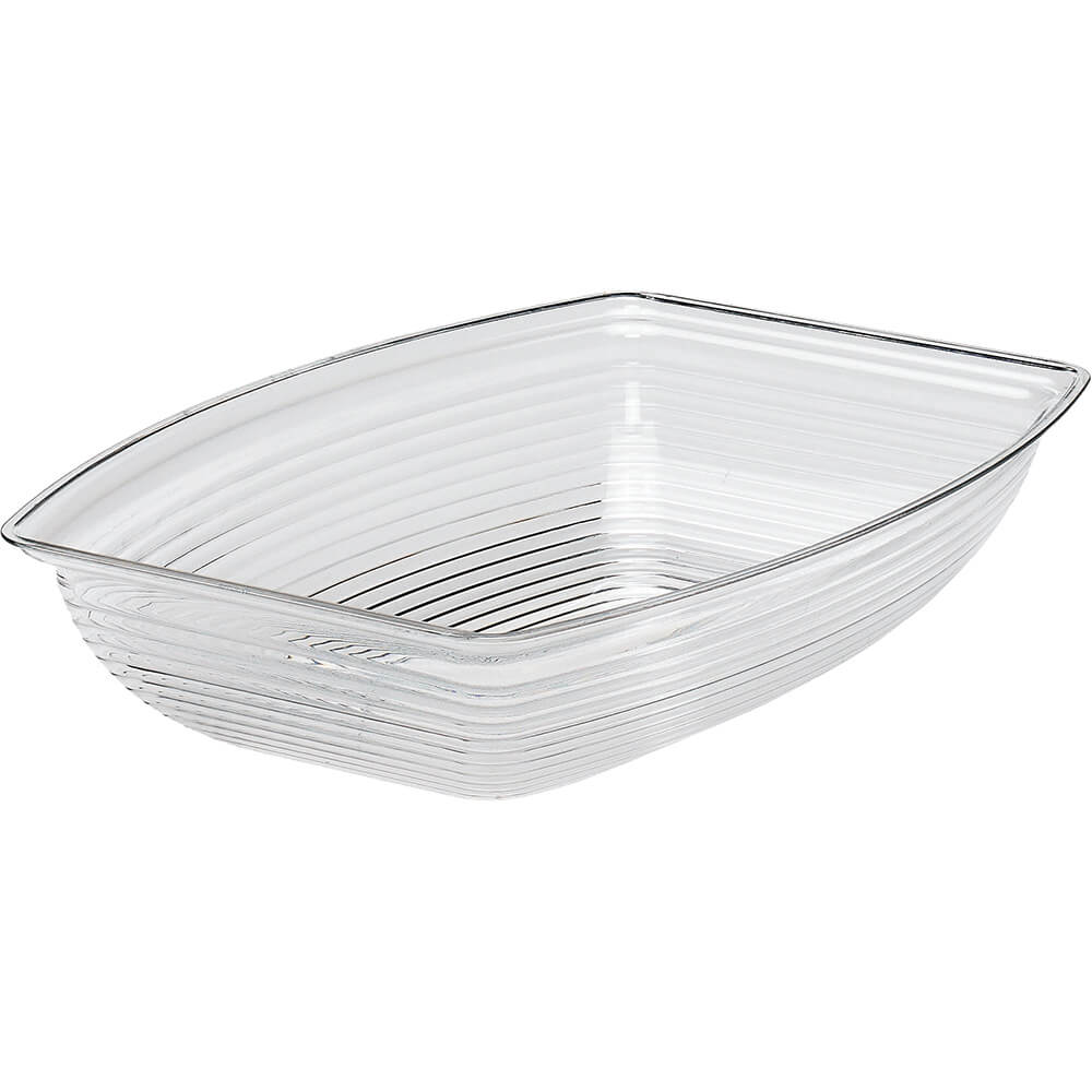 Clear, 5 Qt. Rectangular Ribbed Bowls, 4/PK
