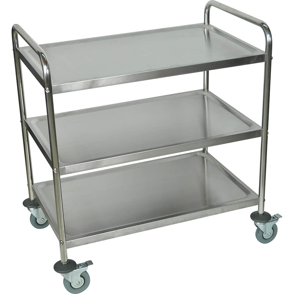 Stainless Steel, Large Three Shelf Utility Cart