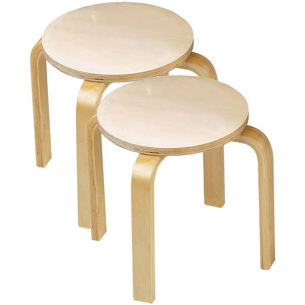 Children Wooden Sitting Stools, Set of 2