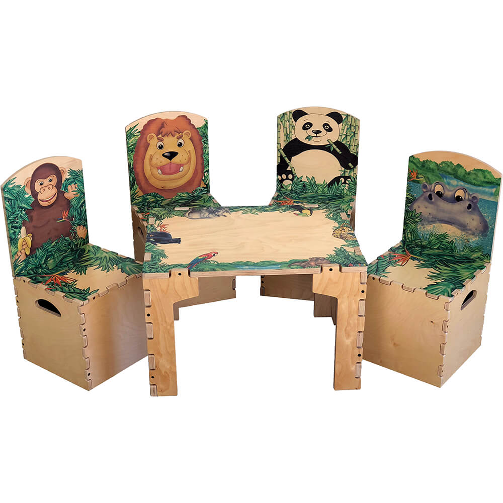 Children Safari Table and Animal Chairs
