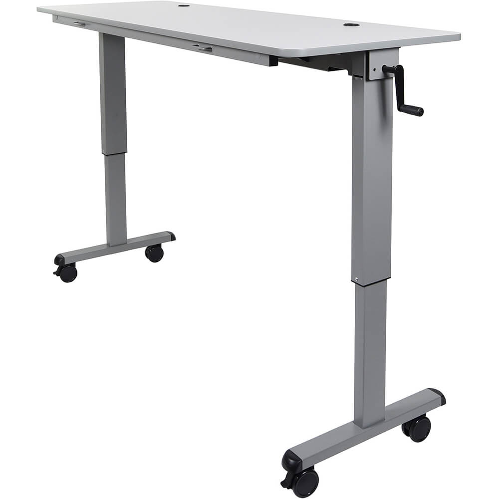 "Gray, 30"" To 42.25"" Height Adjustable Desk, Crank Adjustable 60"" Flip-Top Table / Training Desk View 2"