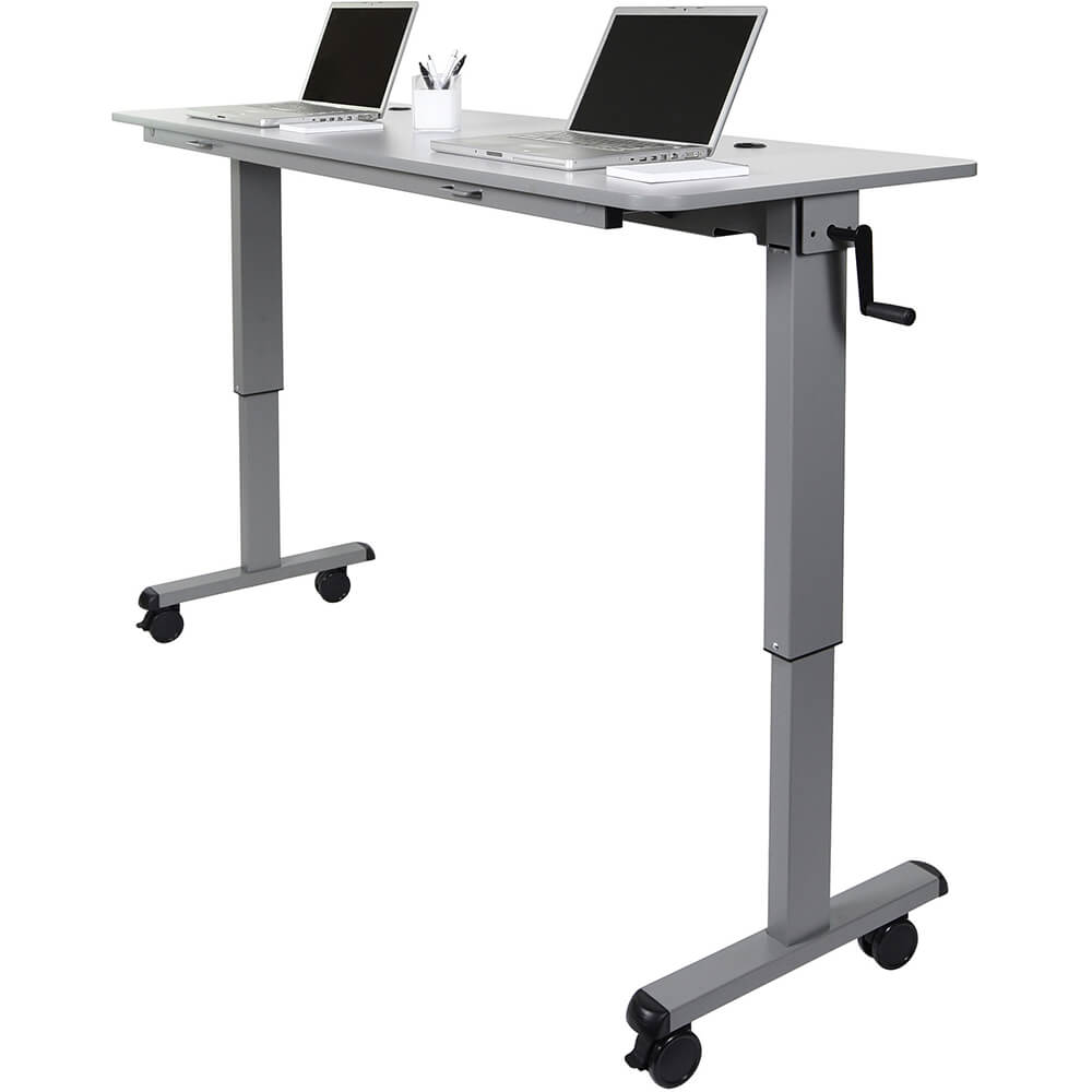 "Gray, 30"" To 42.25"" Height Adjustable Desk, Crank Adjustable 60"" Flip-Top Table / Training Desk View 3"