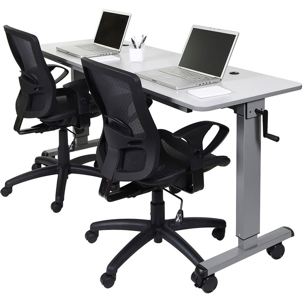 "Gray, 30"" To 42.25"" Height Adjustable Desk, Crank Adjustable 60"" Flip-Top Table / Training Desk View 4"