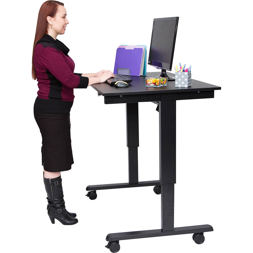 "Black, Steel 26"" To 51.6"" Height Adjustable Desk, 48"" Long Electric Sit Stand Desk, Dual-motor"