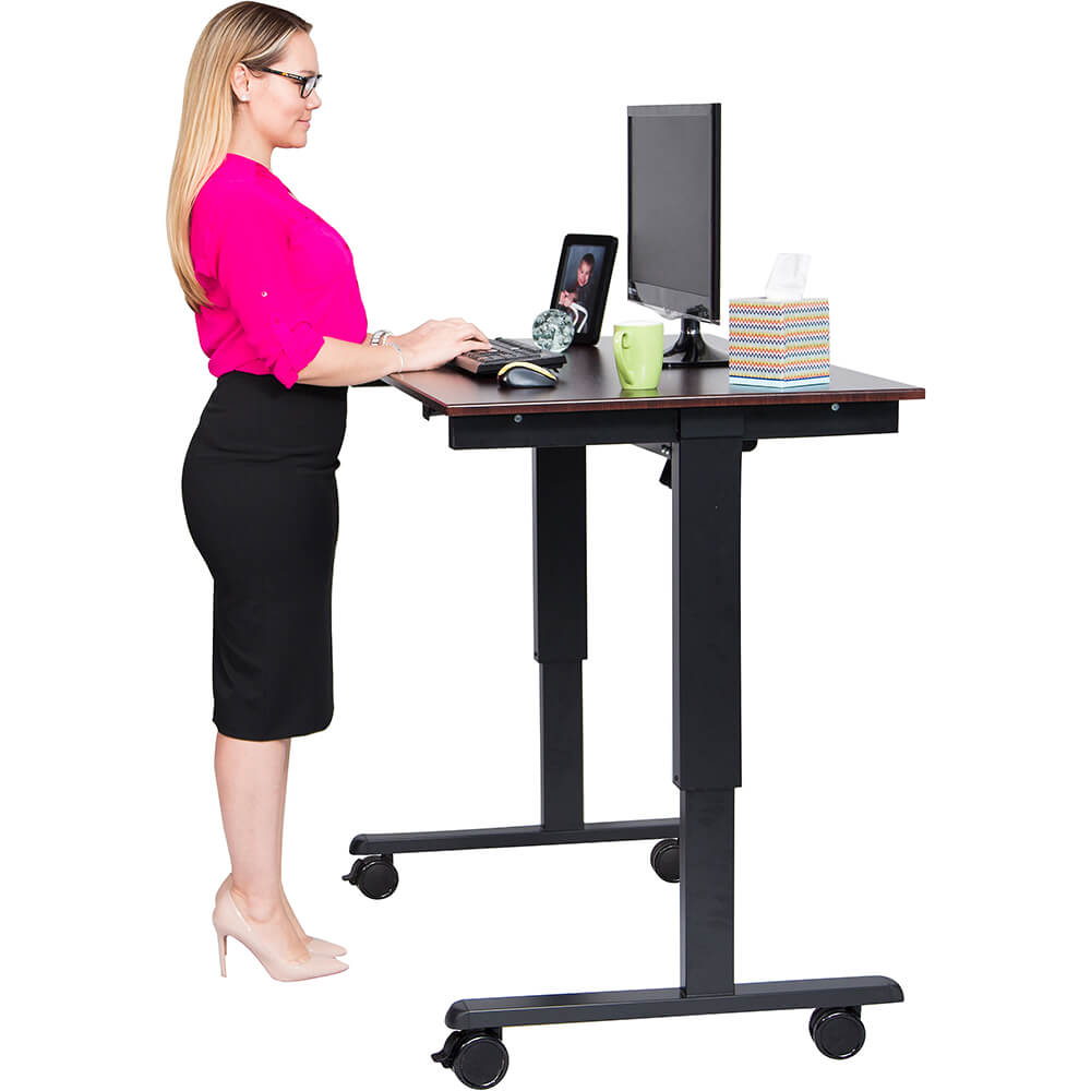 "Dark Walnut, Steel 26"" To 51.6"" Height Adjustable Desk, 48"" Long Electric Sit Stand Desk, Dual-motor"